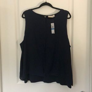 Michael Kors Navy Mixed Media Sleeveless Blouse